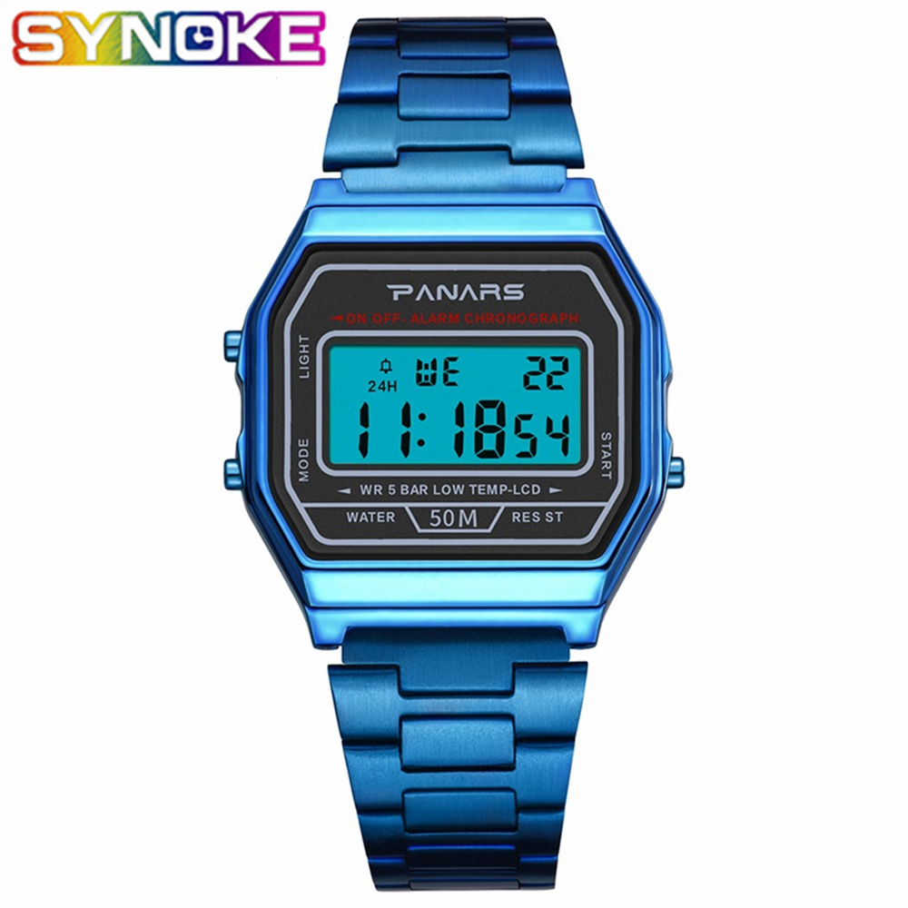 SYNOKE Men LED Digital Sports Watches Men's Women Relogio Masculino Stainless Steel Military Waterproof Wristwatches