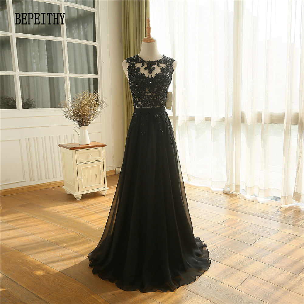 BEPEITHY New Arrival Robe De Soiree A Line Chiffon Long Evening Dress Party Elegant Sexy Sheer Back Sleeveless Prom Gown 2019