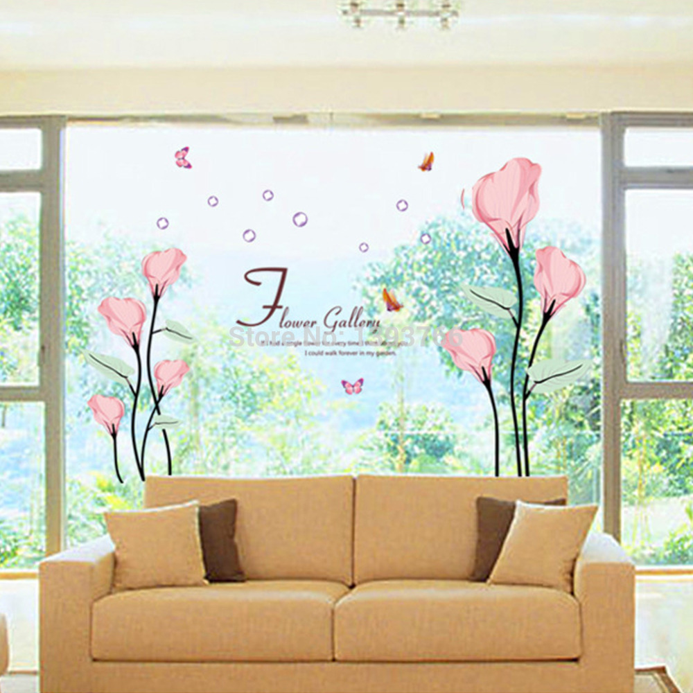 120 175 Cm Galeria Flor Adesivos De Parede Sala Quarto Tv Adesivos  -> Adesivos Para Parede Sala De Tv