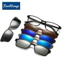 c73c2463ee Moda espectáculo Marcos hombres mujeres miopía con 5 clip en Gafas de sol  polarizado magnético Gafas para ojo masculino Gafas cl.