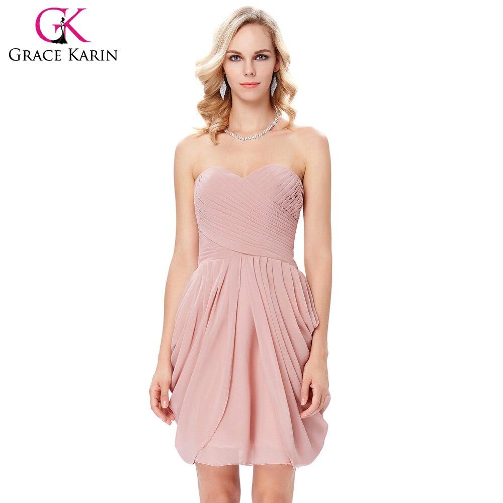 Gracia Karin beige rosa Champagne gasa Vestidos de cóctel corto ...