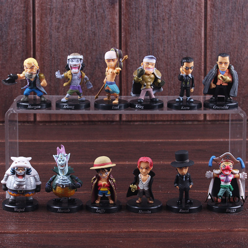 One Piece Anime Shanks Luffy Lucci Crocodile Moria Buggy Enel Sabo Figure Action PVC Collectible Model Toy 12pcs/set