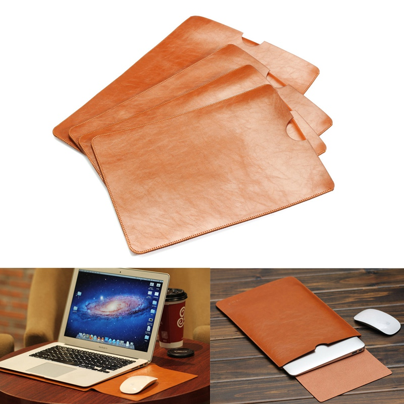 PU Leather For MacBook Air Pro Retina 11 12 13 15inch Laptop Bag Case Sleeve Notebook Ultrabook Carry Bag Cover Pouch Mouse Pad цена