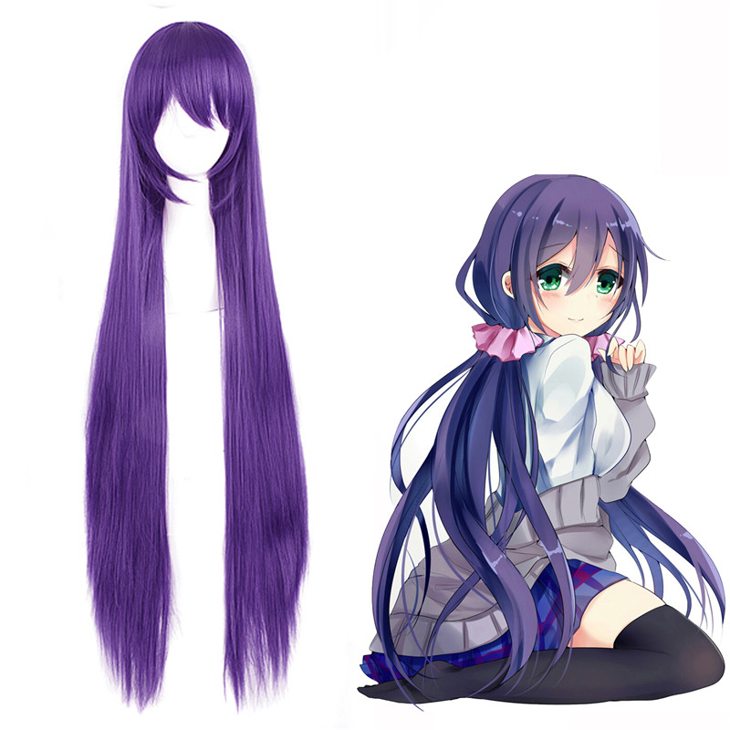 LoveLive! Tojo Nozomi Anime Game Cosplay Purple Wig 100cm Straight Costume Play Wigs Halloween party Hair Wig+Wig Cap