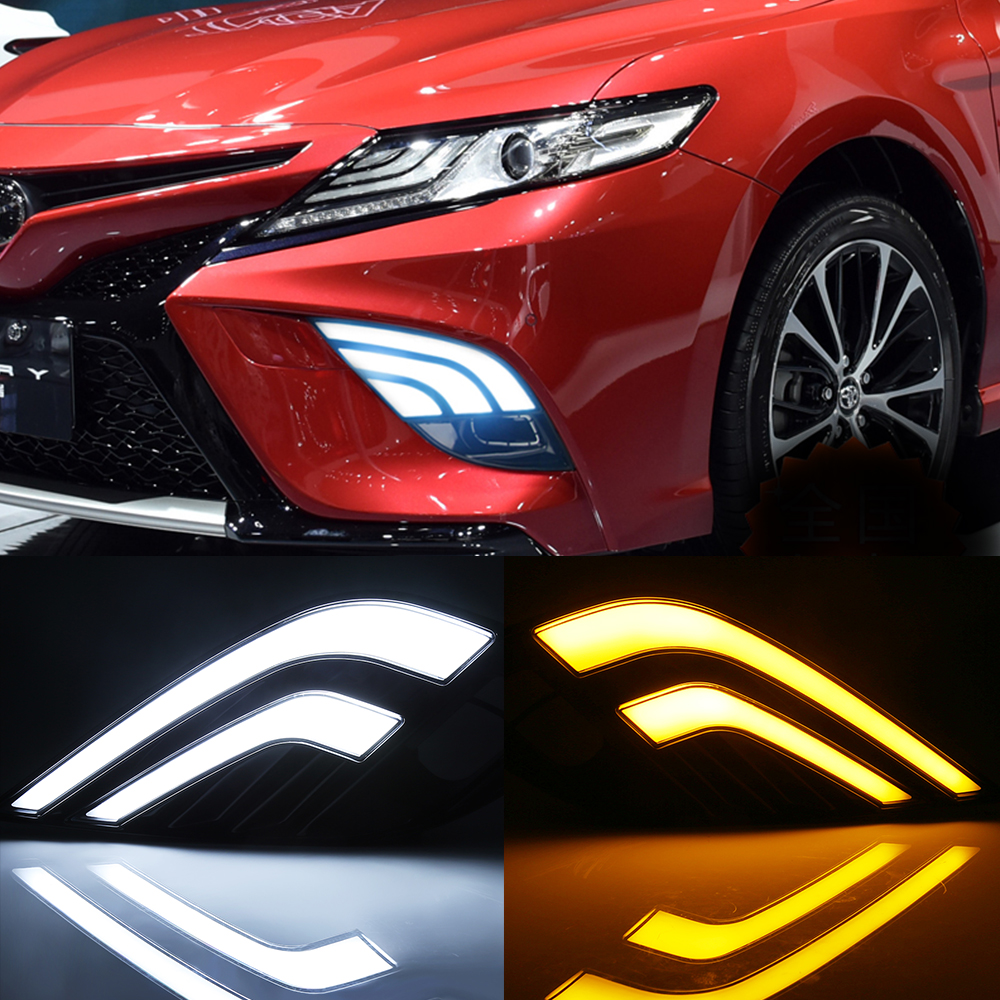 cars running lights drl led daytime running light for toyota carmy yellow white blue day running lights for camry 2018 SE XSE кардиометр running