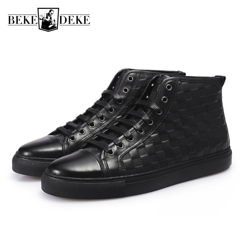 Men High Top Casual Shoes Black Genuine Leather Flats 2018 Vintage Plaid Students Footwear Male Lace Up Round Toe Punk Chaussure