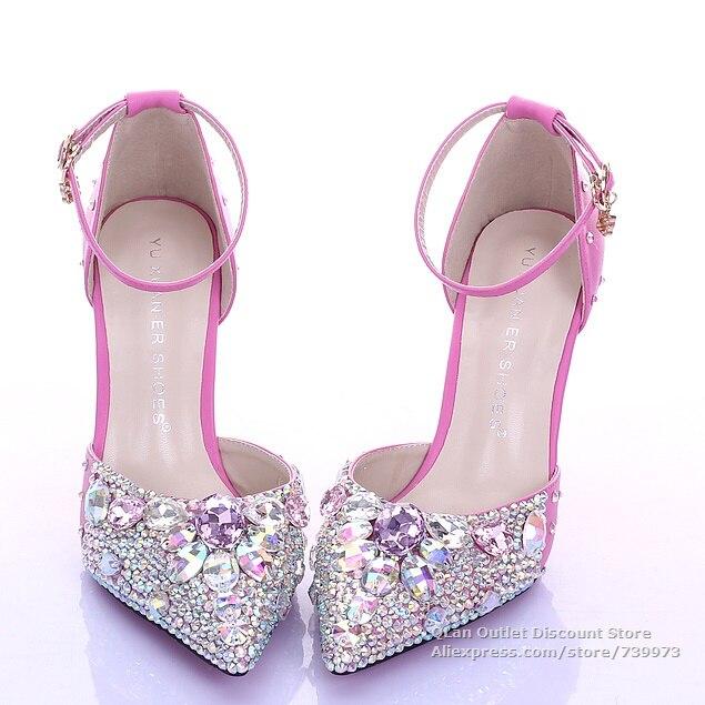 design senza tempo scarpe da ginnastica a buon mercato in vendita Bling sexy hot pink wedding sandals rhinestones two piece ...