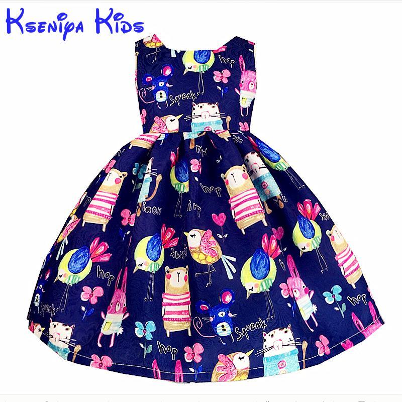Kseniya Kids New European Summer Girls Dresses Cotton Cartoon Girl Kids Clothes Blue Pink Flower Dress Hand Graffiti 2-14 Years