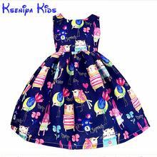 Kseniya vestidos de algodón con dibujos animados para niñas, ropa para niños, azul, rosa, flor, grafiti a mano, 2 a 14 años