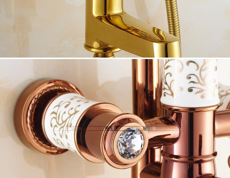 "HTB16Q8SjSfD8KJjSszhq6zIJFXaw Luxury Rose Golden Bathroom Shower Faucet Wall Mounted 8"" Rain Showerhead Coming With Hand Spray Round Bar Mixer Shower Set"