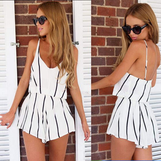 Summer Sexy V Neck Rompers Women Fashion Jumpsuit Lady Black White Striped Playsuit