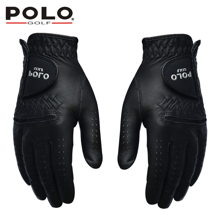 POLO Golf Gloves Left and Right Hand Genuine Leather Men Glove Suede Leather Antiskid Soft Breathable Sports Gloves Accessories adults kids hand wrist orthosis separate finger flex spasm extension board splint apoplexy hemiplegia right left men women