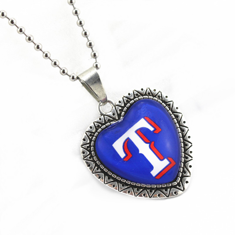 Hot selling Texas Rangers football sports charms heart necklace pendant with 45cm chains necklace DIY jewelry 10pcs/lot