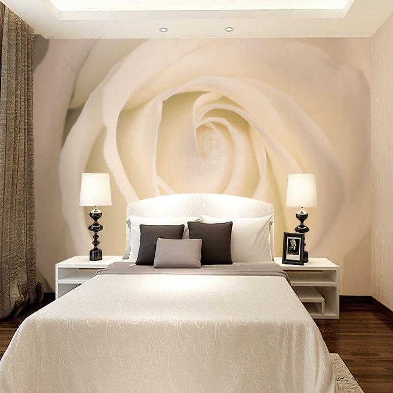 Custom Photo Mural Modern Minimalist 3D White Rose Non-woven Wallpaper For Living Room Sofa Background 3D Wall Murals Wallpaper