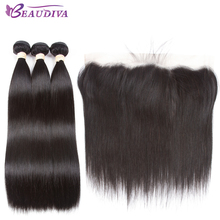 BEAUDIVA Pre-Colored 1B# Natural Color Straight Bundles with 13*4 Closure One Pack Peruvian Remy Human Hair(China)