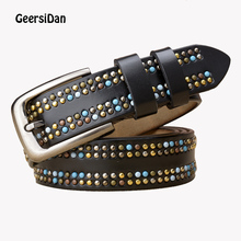 GEERSIDAN new high quality rivet genuine Leather women belt fashion pin buckle female strap wide vintage cowskin for