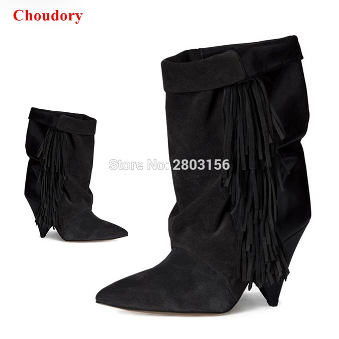 где купить  women suede leather boots fringed high heel ankle boots slip on boots hot sale tassel motorcycle boots shoes woman  по лучшей цене