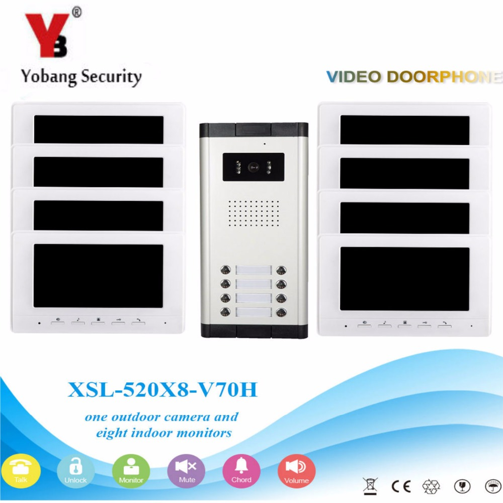 YobangSecurity Video Door Intercom 7 Inch Monitor Wired Video Doorbell Door Phone Intercom 1 Camera 8 Monitor System Kit yobangsecurity wifi wireless video door phone doorbell camera system kit video door intercom with 7 inch monitor android ios app