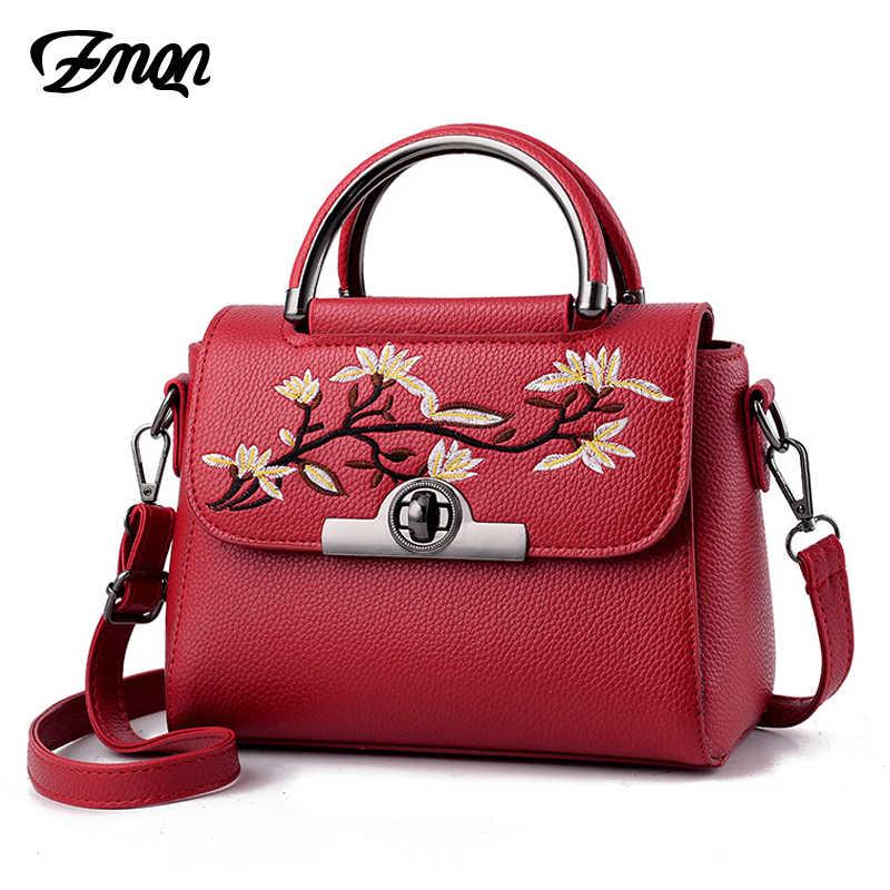 ZMQN женщин Crossbody мешок известных Брендовые женские кожаные сумки  цветок вышивка сумка для женщин сумка 2018 7663cdbe8b5