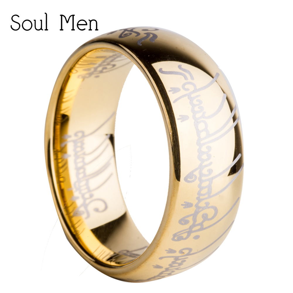 US Size 6 to 15 Lord Hobbit Ring 8mm Men's Women's Tungsten Carbide Wedding Engagement Band Fashion Movie Jewelry