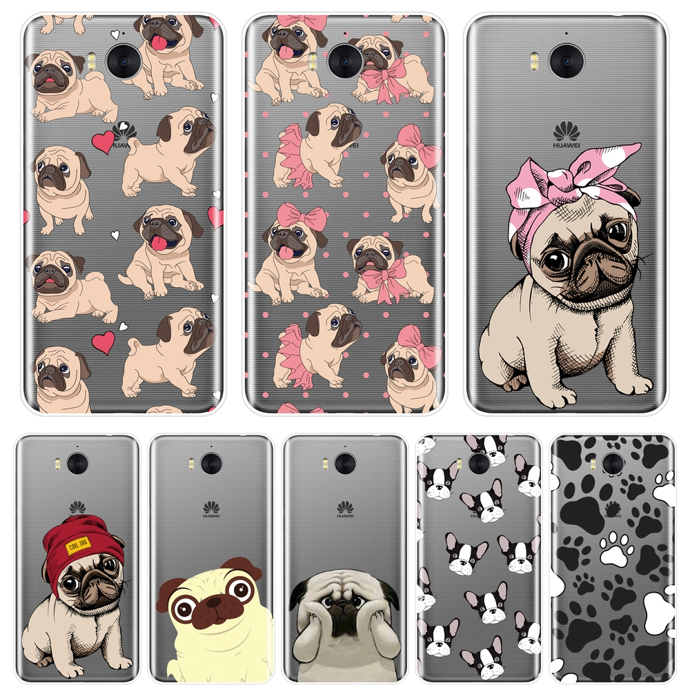 For <font><b>Huawei</b></font> Y3 <font><b>Y5</b></font> Y6 II Y7 Pro Phone <font><b>Case</b></font> <font><b>Silicone</b></font> Pug French Bulldog Soft Back Cover For <font><b>Huawei</b></font> <font><b>Y5</b></font> Y6 Y7 Prime 2017 <font><b>2018</b></font> Y9 2019 image