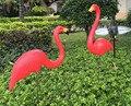 1 pair flamingo de plástico decoração do jardim quintal decoração e arte ornamento do gramado cerimônia de casamento decoração fontes de agua decora