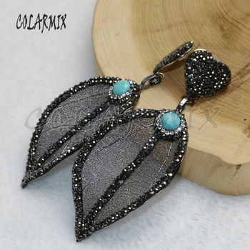 5 pairs natural leaf earrings with blue stone leaf plated heart earrings wholesale jewelry earrings wholesale jewelry 9207 фото