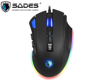 SADES S12 Axe Gaming Mouse Wired 12 Buttons Optical RGB Lighting Mouse For FPS&MOBA Gamers