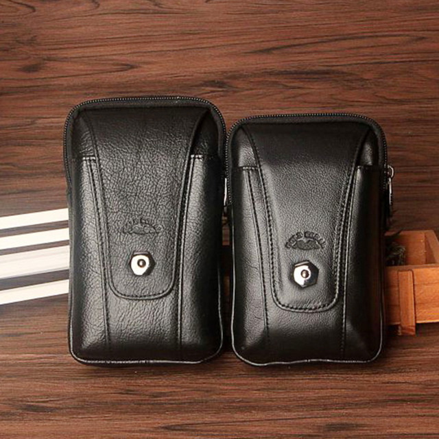 New Men Genuine Leather Cowhide Fanny Belt Hip Bum Waist Pack Business Mobile Phone Cigarette Case Card Holder Coin Purse
