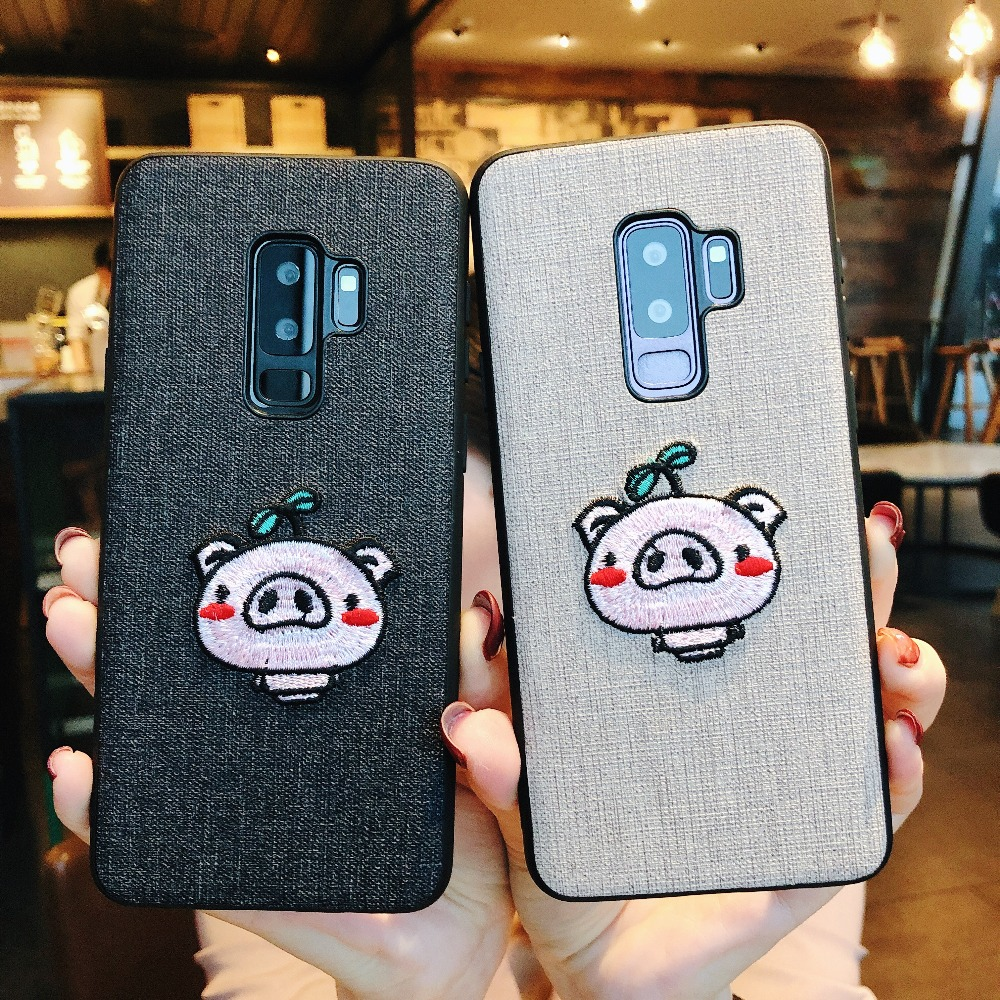 For Samsung Galaxy S8 S9 Plus Embroidered Cute Pig Cover Phone Case For Galaxy Note 8 9 PC TPU Soft Cases Capa Coque Phone Shell in Fitted Cases from Cellphones Telecommunications