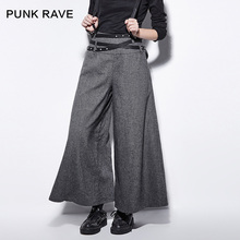 Punk Rave Punk Plaid Patchwork Woolen Wide Leg Pants Female PK-081