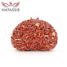 Natassie einen strauß rosen shell form kristall kupplungen romantische abendtasche diamanten party handtasche lx025