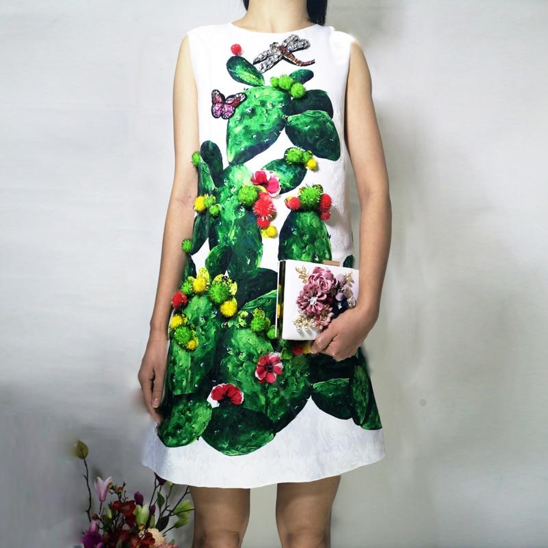 2019 New designer Summer Dress Women's Sleeveless Tank Crystal Dragonfly Cactus print green Casual Dresses vestido Short Dress-in Dresses from Women's Clothing    1