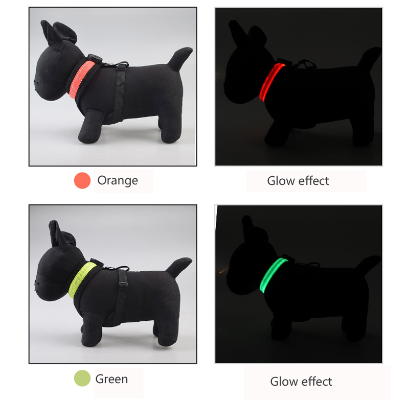 Nylon LED Dog Harness Pet Cat Dog Collar Harness Vest High Quality Safety Night Light Up Dog Harness For Small Big Large Dogs (1)