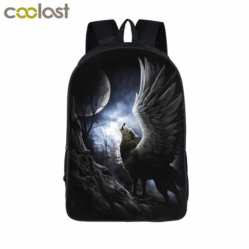 2e3dce447b37 Dark Wolf With Wing Backpack kids School Backpack Boys Girls Book Bag  Street Rock Backpacks For