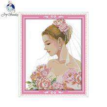 Joy Sunday Beautiful Bride Counted Cross Stitch 11CT14CT DIY Kit Embroidery Home Decor Needlework R541