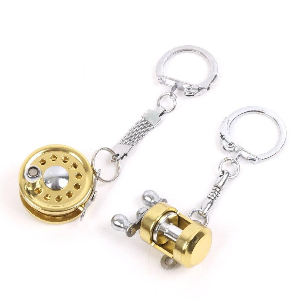 Metal Fishing Reel Keychain Miniature Fishing Gift