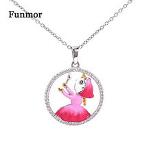 Funmor Cute Enamel Necklace Hollow Out Figure 925 Sterling Silver Jewelry Women Girls Routine Gathering Accessories Gifts