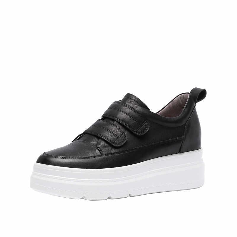 ASUMER 2019 thời trang mùa xuân mùa thu mới giày giày phụ nữ chân vòng da chính hãng giày phụ nữ nền tảng tăng nội giày phụ nữ