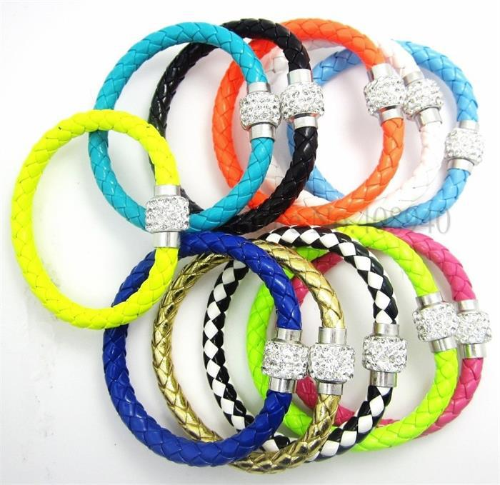 20pcs/lot free ePacketship 2015 Mix 12colors Pu Leather shamballa Bracelet Crystal Ball Braided Fireball Magnetic Clasp bracelet