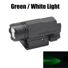 Pistol Airsoft Hunting Glock Gun Flashlight Weapon Green Light Tactical Torch 20mm Rail Mount Gun light