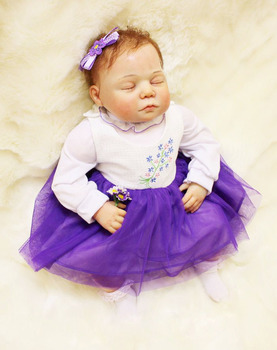 """100% muñeca real hecha a mano reborn 20 """"bebés reborn de silicona con falda violeta alta calidad niños regalo bebe renacido muñecas"""