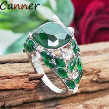 CANNER Big Green Stone Ring Vintage Bird Crystal Rings For Women Wedding Leaf Square Zircon Rhinestone Jewelry Gifts F40