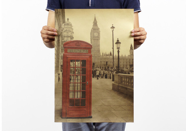 The London Red Phone Booth Poster Home Decoration Detailed Antique Wall Chart Retro Paper Matte