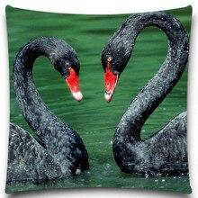 Funda de almohada decorativa con patrón de cisne negro Funda de cojín cuadrada de algodón y poliéster Vintage Retro de 18 pulgadas y 5 tamaños