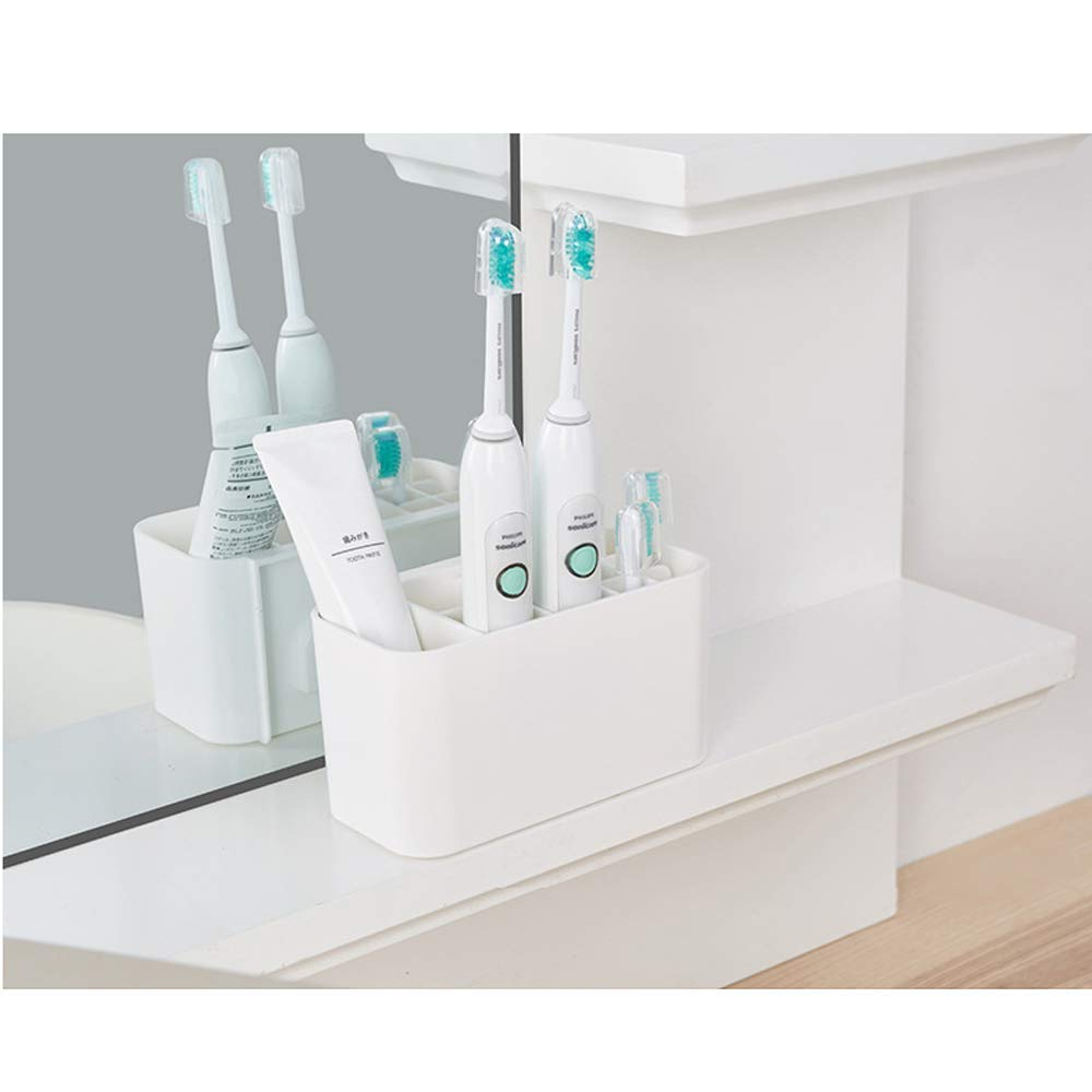 Bathroom Easy-Store Toothbrush Caddy, White/Blue, Large Electric toothbrush holder image