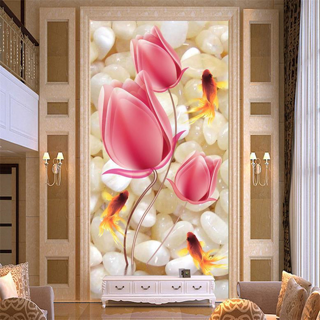 Beibehang customize size high quickly hd mural 3d stereoscopic wallpaper wallpaper wall paper tulip with stone
