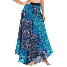 Las mujeres Falda larga Hippie bohemio gitano Boho elástico estampado  Floral falda playa tobillo longitud falda Primavera Verano. fdaffd805853