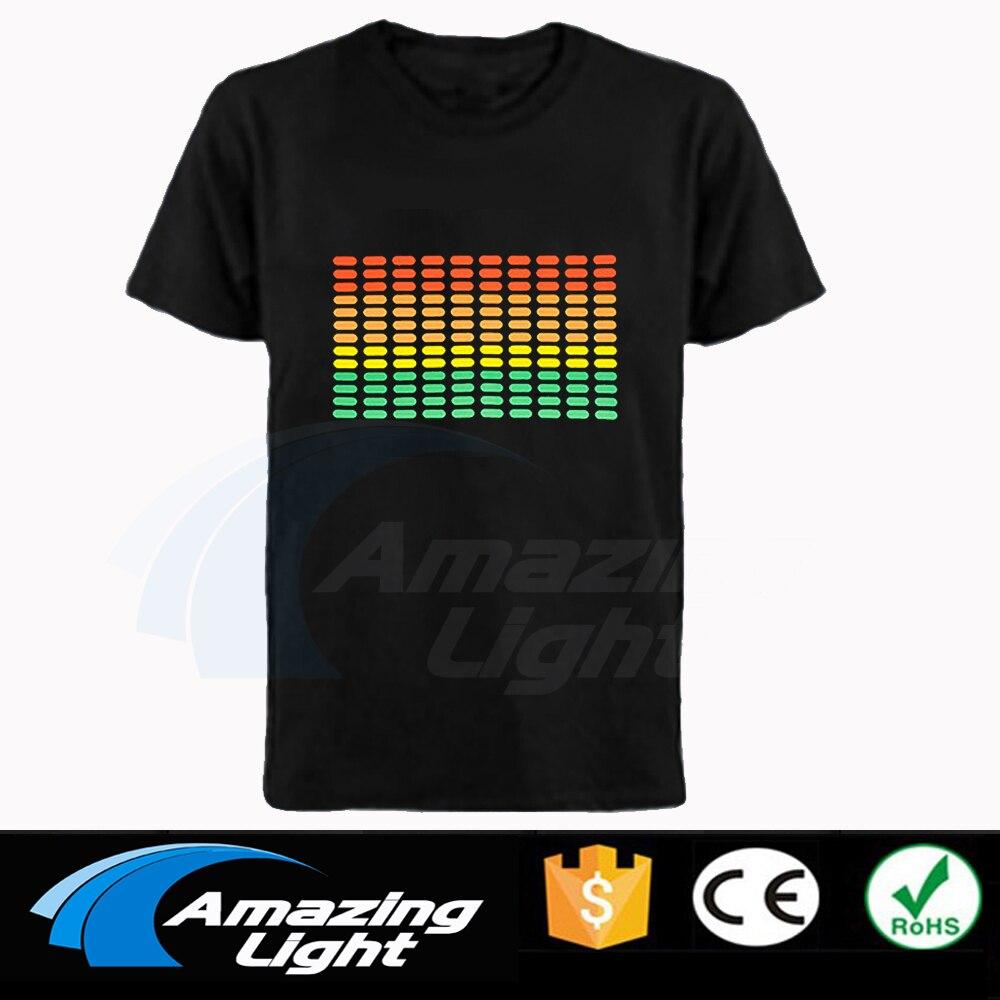 Лидер продаж, высококачественные футболки унисекс из 100% хлопка со светодиодным эквалайзером, футболка с активацией звуком, потрясающая све...
