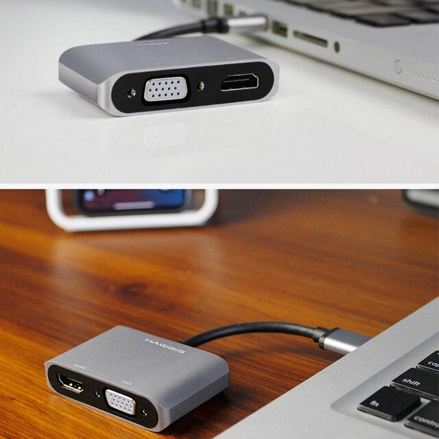 Hagibis USB 3,0 a HDMI VGA Adaptador 4K HD 1080P HD Multi-pantalla 2in1 convertidor USB a HDMI Cable de Audio y Video para Macbook ordenador